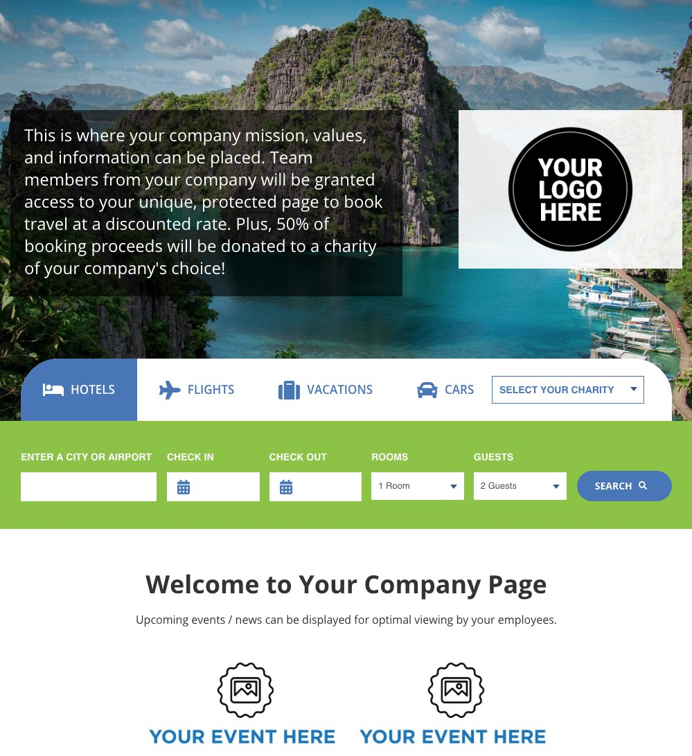 The Charity Pros sample corporate travel page